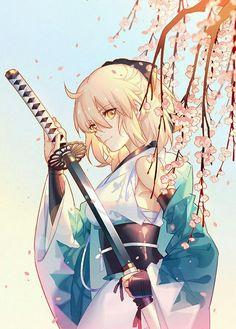 FGO-souji by INstockee on DeviantArt Kawaii Anime Girl, Girls Anime, Cool Anime Girl, Anime Art Girl, Manga Art, Manga Anime, Anime Angel, Anime Kimono, Manga Katana