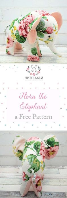 Free Flora the Elephant pattern - adorable stuffed animal sewing pattern for an elephant! Free Flora the Elephant pattern - adorable stuffed animal sewing pattern for an elephant! Easy Sewing Projects, Sewing Projects For Beginners, Sewing Tutorials, Sewing Crafts, Sewing Hacks, Beginer Sewing Projects, Christmas Crafts Sewing, Sewing Art, Felt Projects
