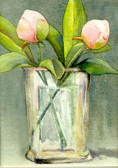 Fine Art Print of original watercolor of Peonies in a Vase. I really wish I had some talent for painting. But at least I can admire the beautiful works of amazing artists on Etsy!