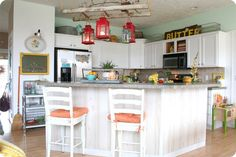 home decor ladders hanging from ceiling | Bright Kitchen~This is sooo my style =)