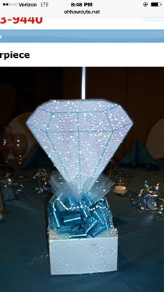 Diamond centerpiece--minus the bottom part. Pearl Centerpiece, Simple Centerpieces, Party Centerpieces, Graduation Centerpiece, Quinceanera Centerpieces, 60 Wedding Anniversary, Anniversary Parties, Diamonds And Denim Party, Diamond Party