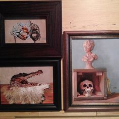 """""""Look"""" and """"Gator"""" and """"History-A Look Back"""" are three oil paintings I will have with me at my Outer Banks painting demonstration Nov 7 #obx #nagsheadnc #marathonnc #paintingdemo #seasideart #devrakeurce"""
