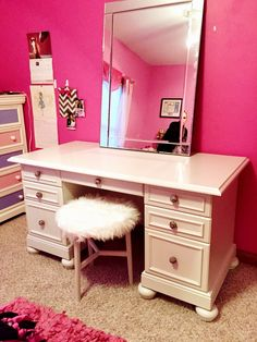 Recreated PBTeen vanity from an old desk with added trim, feet and knobs for a fraction of the cost!