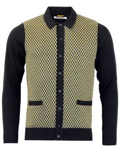 Ben Sherman Mod Style Knitted Geo Yellow Polo Cardigan A W 2015 Bnib Retro Polo Cardigan, Black Cardigan, African Men Fashion, Mens Fashion, Modern Gentleman, Ben Sherman, Well Dressed Men, Stylish Men, Vintage Outfits
