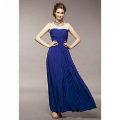 A-Line Sweetheart Neckline Zipper Back Blue Cotton Strapless Dress For Women