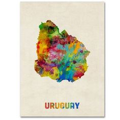 Trademark Art Uruguay Watercolor Map by Michael Tompsett Graphic Art on Wrapped Canvas Size: Map Canvas, Canvas Wall Art, Canvas Size, Watercolor Map, Map Art, Artist Canvas, Wrapped Canvas, Graphic Art, Fine Art