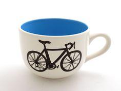 Bike soup Mug extra large mug turquoise blue interior by LennyMud