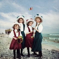 """imperial-russia: """" """"The four daughters of Emperor Nicholas II, Grand Duchesses Olga, Tatiana, Maria and Anastasia of Russia, posing for an informal photo during their holiday in Finland, 1910 """" """""""