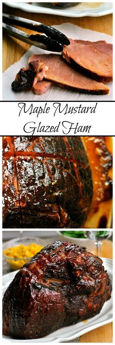 Maple Mustard Glazed Ham is a simple holiday masterpiece! Maple syrup, mustard, brown sugar and spices combine to make the sticky and sweet glaze for this meal!