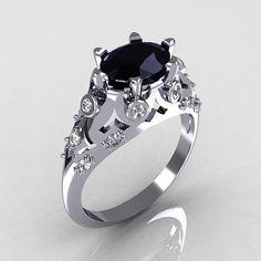 Modern Edwardian 14K White Gold 1.0 Carat Oval Black Diamond Bridal Ring R147-14WGDBD