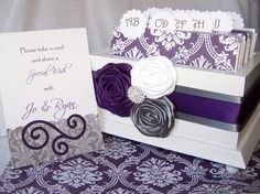 Wedding Guest Book Box   Purple and Gray White Wooden by itsmyday, $68.00