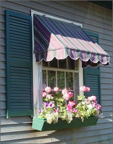 I like the awning and window box. Without the shutters of course, the shutters are just too much...like wearing jeans underneath a dress.