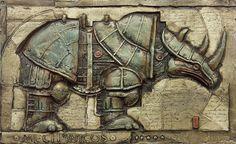 Ilustração Steampunk de um rinoceronte. Muito legal