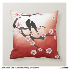 Shop Love Birds and Sakura Pillow created by DreamsInc. Diy Pillows, Custom Pillows, Throw Pillows, Designer Pillow, Pillow Design, Stencil, Oriental Flowers, Bird Pillow, Oriental Design