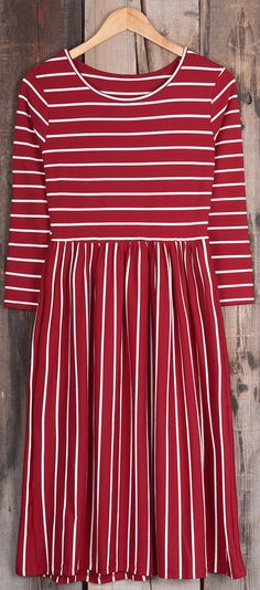 $22.99 Only with free shipping&easy return! This waisted midi dress will brighten your daily life with its magic power! These bold red&white stripes gonna be your fave at Cupshe.com .