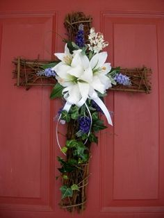 "Spring/Easter Cross Wreath - 16""x24"" by Silkmama.com, http://www.amazon.com/dp/B00B6EOY9M/ref=cm_sw_r_pi_dp_Msebrb0W5CVT1"
