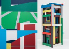 LEFT TO RIGHT: Hugh Byrne, Intersection Latex paint on linen, on panel with maple frame. 75 x Hugh Byrne, Lattice Concrete, wood and latex paint. 48 x 22 x Concrete Wood, Urban Architecture, Latex, Symbols, Letters, Digital, Frame, Painting, Art