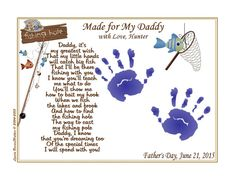 """DADDY Teach Me FISHING Poem 8 x 10"""" Print Baby / Child Handprints Gift for New Daddy / Father's Day"""