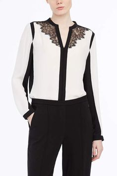 DENISE COLOR-BLOCK BLOUSE WITH LACE