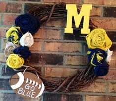 Burlap Michigan Wolverines Wreath on Etsy, $42.00