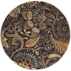 Capri Brown 5 ft. 3 in. Transitional Round Area Rug