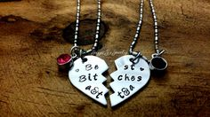 Mature Necklaces, Best Bitches Personalized Hand Stamped Necklace Set, Friends Forever, Gift for Best Friends, Best Friends, Best Bitch by JazzieJsJewelry on Etsy