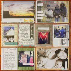 Pictures/cards layered on top of other card stock which is just barely peeking through.