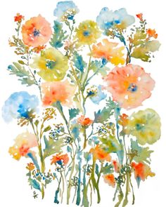 Take note of how she paints these lovely florals; Floral Medley Watercolor Flowers Fine Art by pineapplebaystudio