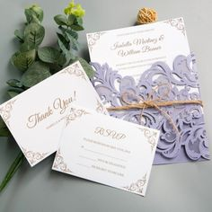 Graceful Lilac Floral Laser Cut Wedding Invitations with Twine, Purple Spring Wedding Colors, Cheap Wedding Invitations, Rustic Wedding Invitations - Wedding Invitations - Wedding Invites Paper Wedding Etiquette, Spring Wedding Colors, Purple Wedding, Spring Colors, Spring Weddings, Wedding Gifts For Groom, Wedding Cards, Lilac Wedding Invitations, Wedding Expenses