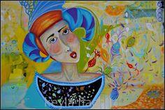 Keyla Flachi art. Mixed media. Acrylics, oil pastels and gold 24k. 2014.