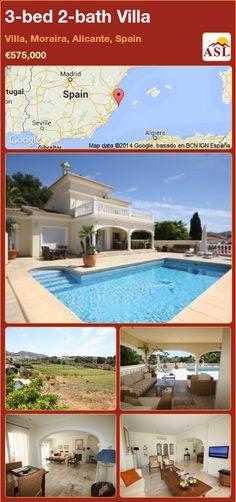 3-bed 2-bath Villa in Villa, Moraira, Alicante, Spain ►€575,000 #PropertyForSaleInSpain