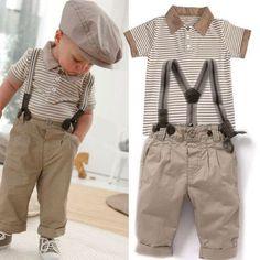 Jungen Kinder Baby Gestreift T-Shirt Top+ Hose Mit Hosenträger Smoking Anzug Set