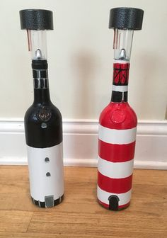 Wine bottle lighthouses. Hunting Island lighthouse Hilton Head lighthouse #Huntingislandlighthouse #hiltonheadlighthouse