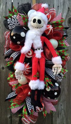 Christmas Wreath Christmas Mesh Wreath Nightmare by BaBamWreaths