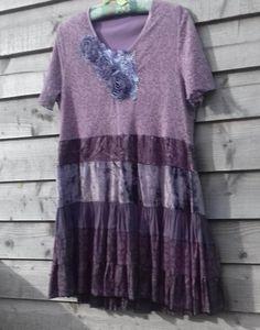 172cbf8e03 L XL 1X Elegant Soft Mauve Dress with velvet silk and lace. Kötözött  Batikolás