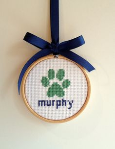 Dog Paw Christmas Ornament - Navy and Kelly Green Cross Stitch Kit on Etsy, $12.00