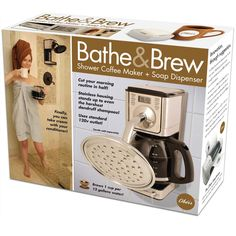 Prank Pack Bathe & Brew. Why not use the shower to brew your coffee, too?! (Prank gift box to put the real gift in.)