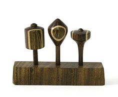 Set of Three Wooden Spinning Tops by PaleBlueAtlasClub on etsy