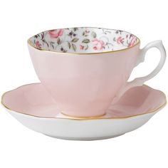 Royal Albert Pink Rose Confetti Vintage Teacup And Saucer Boxed Set found on Polyvore - love that the pattern is INSIDE