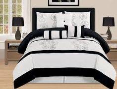 Black And White Comforter Sets Luxury Bedroom Sets. Luxury Bedroom Sets, King Bedroom Sets, Luxurious Bedrooms, Luxury Bedding, Master Bedroom, Queen Size Comforter Sets, Black Bedding, King Beds, King Duvet