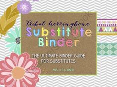 Substitute Binder  Tribal Herringbone  - The Ultimate Sub Tub Binder Guide from Mrs. D's Corner on TeachersNotebook.com -  (60 pages)  - This editable substitute binder is intended to provide you, the teacher, with everything you need to have a great, well prepared day planned for your substitute teacher. No more writing and writing and writing... with this download, it's easy to fill