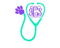 Vet Veterinarian Vet Technician Tech Stethoscope Monogram Decal Heart Nurse/Doctor CUSTOM COLOR