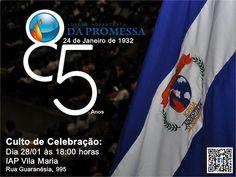 85 anos da IAP – No dia 28 de janeiro, às 18 horas, os promessistas da Convenção Geral se unirão para agradecer a Deus pelos 85 anos da Igreja Adventista da Promessa. O culto será na IAP em Vila Ma…