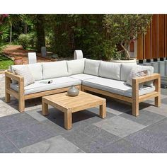 Gut Amazon.de: OUTLIV. Loungemöbel Holz Stockton Loungeecke 4 Teilig  Akazie/Polster