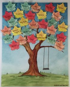 The Thankful Tree is the best new way to bring your family together this Thanksgiving. Share what you are thankful for in this creative and fun way! Fall Preschool, Preschool Crafts, Diy Crafts For Kids, Fun Crafts, Arts And Crafts, Paper Crafts, Family Crafts, Note Image, Decoration Creche