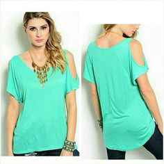 Short sleeve cold shoulder top  medium 7/8  NWT Trendy mint green cold shoulder top. Super soft cotton rayon. Not sheer or see through. Size medium 7/8. Brand new with tag. Never worn, no flaws. Tops Blouses