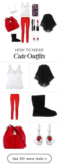 """""""Bold n'cute outfit for Canda Day!"""" by b-mansour on Polyvore featuring Olive + Oak, UGG Australia, Michael Kors, Draper James, Dolce&Gabbana, Relaxfeel, MAC Cosmetics, Lancôme, women's clothing and women"""