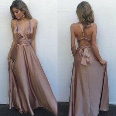 Sexy V Neck Maxi Dress,Gorgeous Satin Prom Dress,Sleeveless