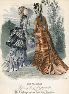 June fashions, 1875 England, The Englishwoman's Domestic Magazine    Some unique bustles.