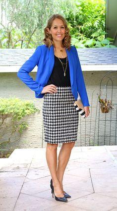 Cobalt blazer, houndstooth skirt